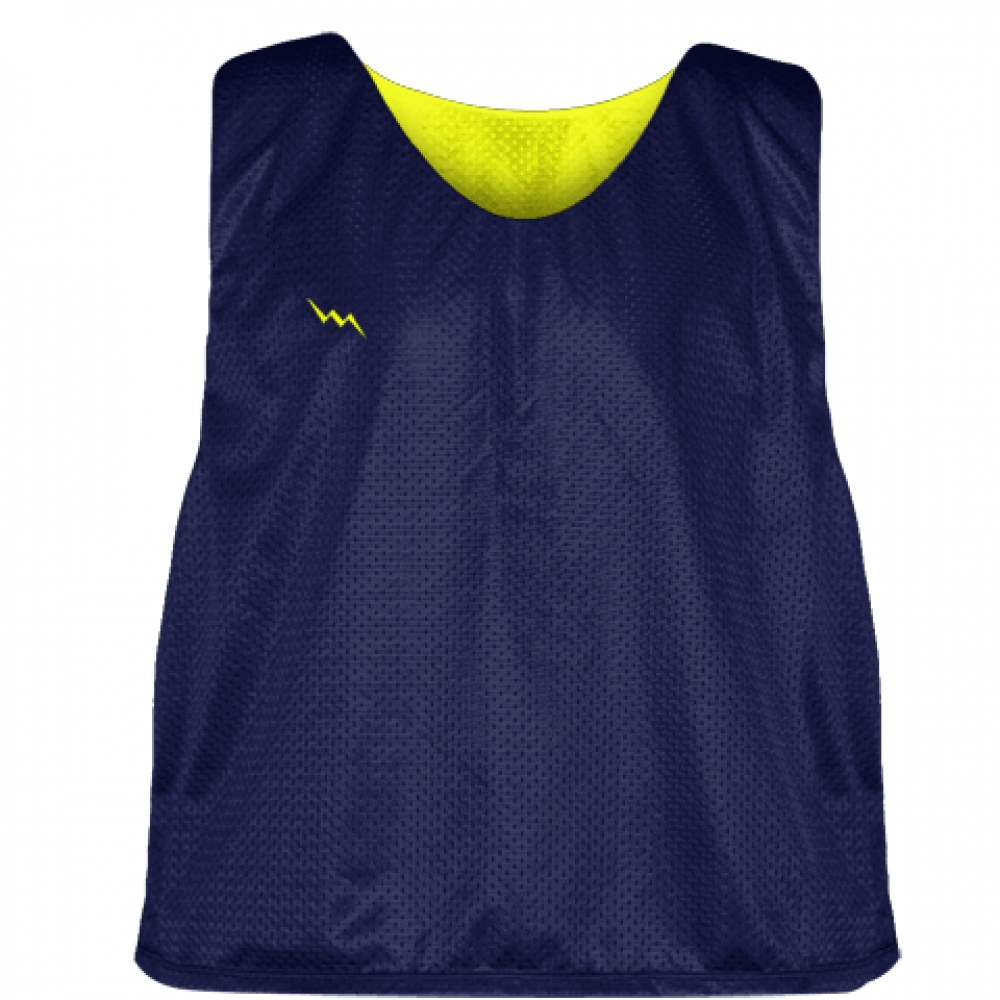 Navy+Yellow+Lacrosse+Pinnie+-+Reversible+Mesh+Pinnies