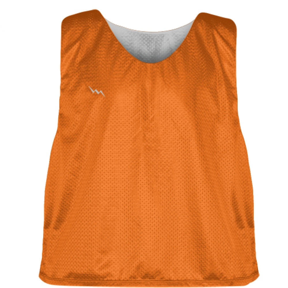 Orange+Silver+Mens+Boys+Lacrosse+Pinnie+-+Reversible+Mesh+Pinnies