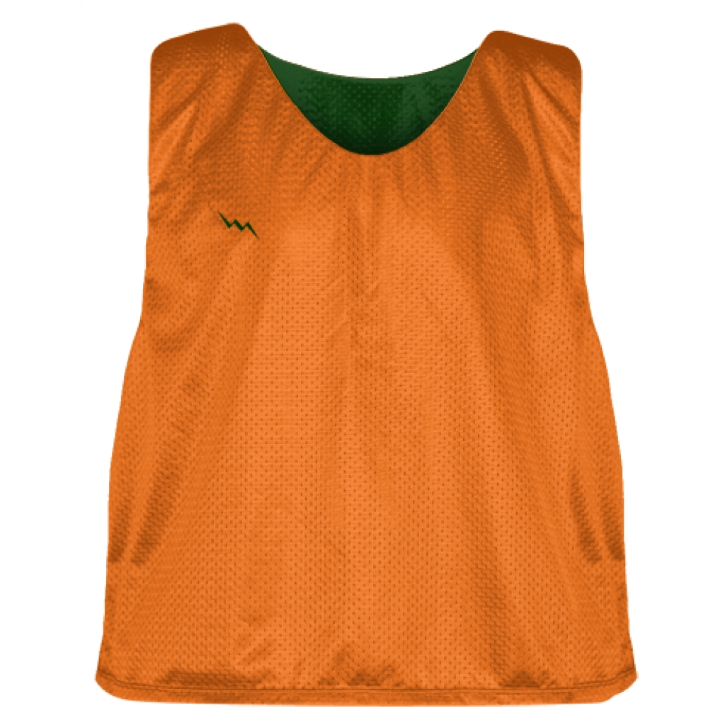 Orange+Forest+Green+Mens+Boys+Lacrosse+Pinnie+-+Reversible+Mesh+Pinnies