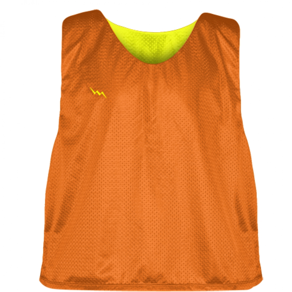 Orange+Yellow+Mens+Boys+Lacrosse+Pinnie+-+Reversible+Mesh+Pinnies