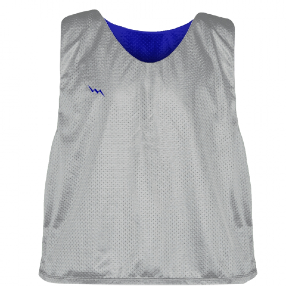 Silver+Royal+Blue+Mens+Boys+Lacrosse+Pinnie+-+Reversible+Mesh+Pinnies
