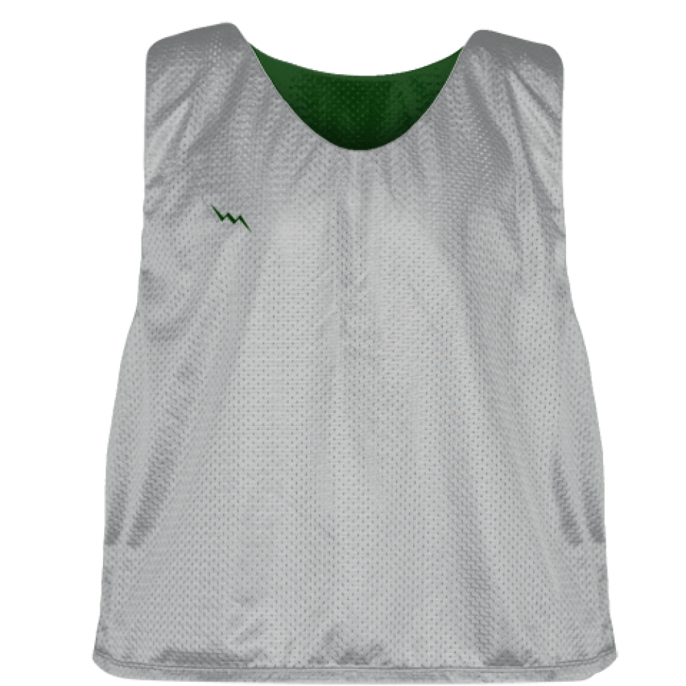 Silver+Forest+Green+Mesh+Lacrosse+Pinnies+-+Reversible+Mesh+Jersey