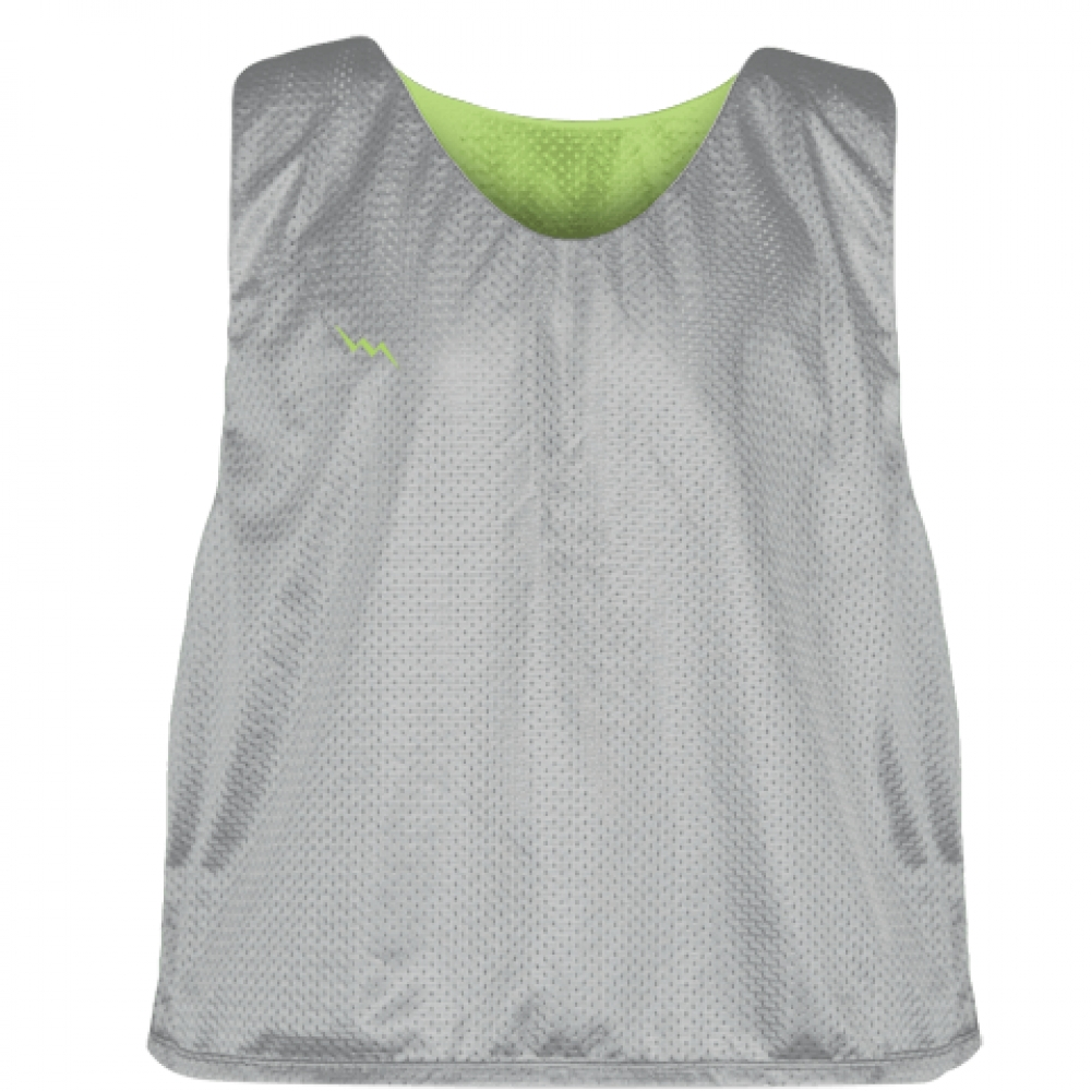 Silver+Lime+Green+Mesh+Lacrosse+Pinnies+-+Reversible+Mesh+Jersey