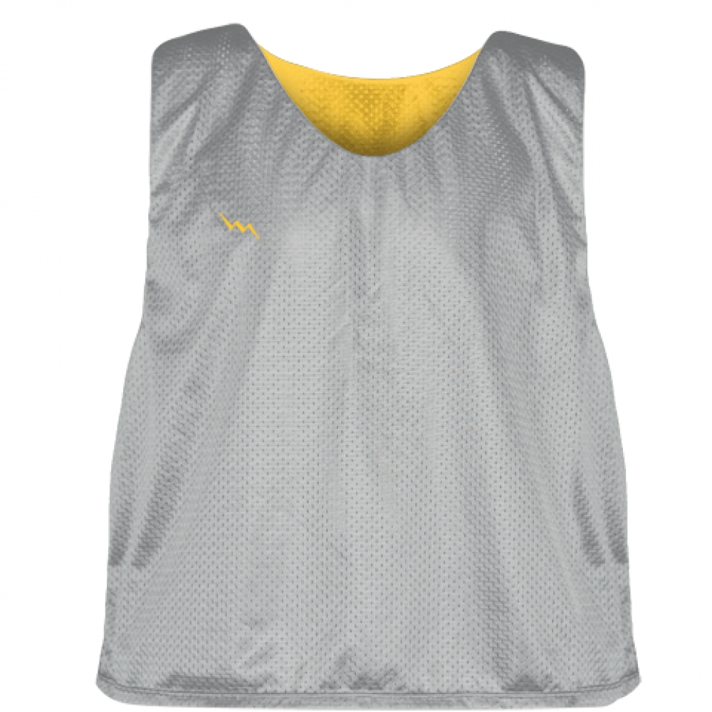 Silver+Athletic+Gold+Mesh+Lacrosse+Pinnies+-+Reversible+Mesh+Jersey