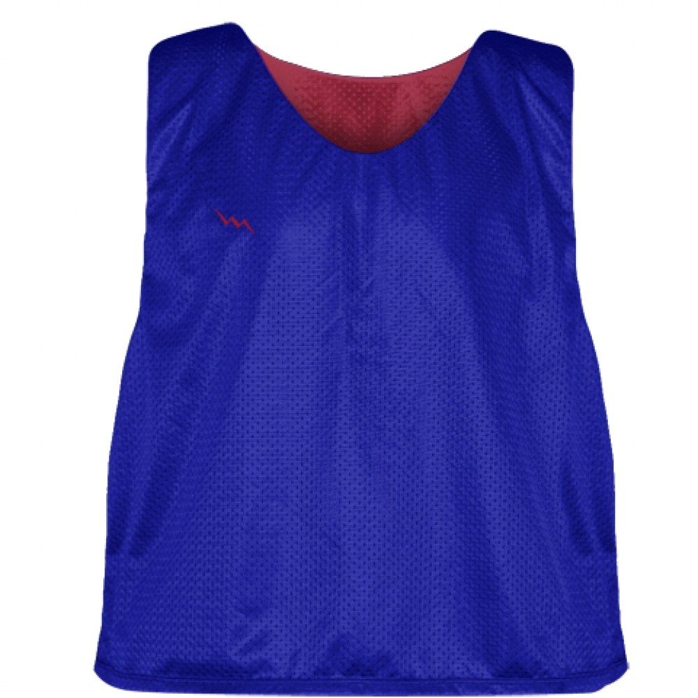 Royal+Blue+Cardinal+Red+Mesh+Lacrosse+Pinnies+-+Reversible+Mesh+Jersey