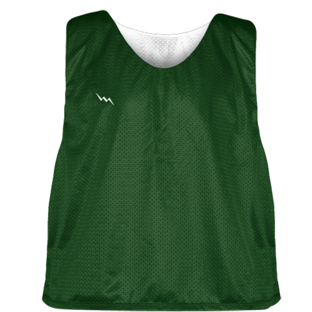 Forest+Green+White+Mesh+Lacrosse+Pinnies+-+Reversible+Mesh+Jersey
