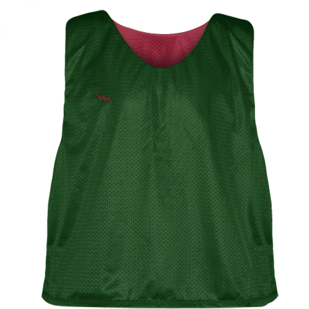 Forest+Green+Cardinal+Red+Mesh+Lacrosse+Pinnies+-+Reversible+Mesh+Jersey