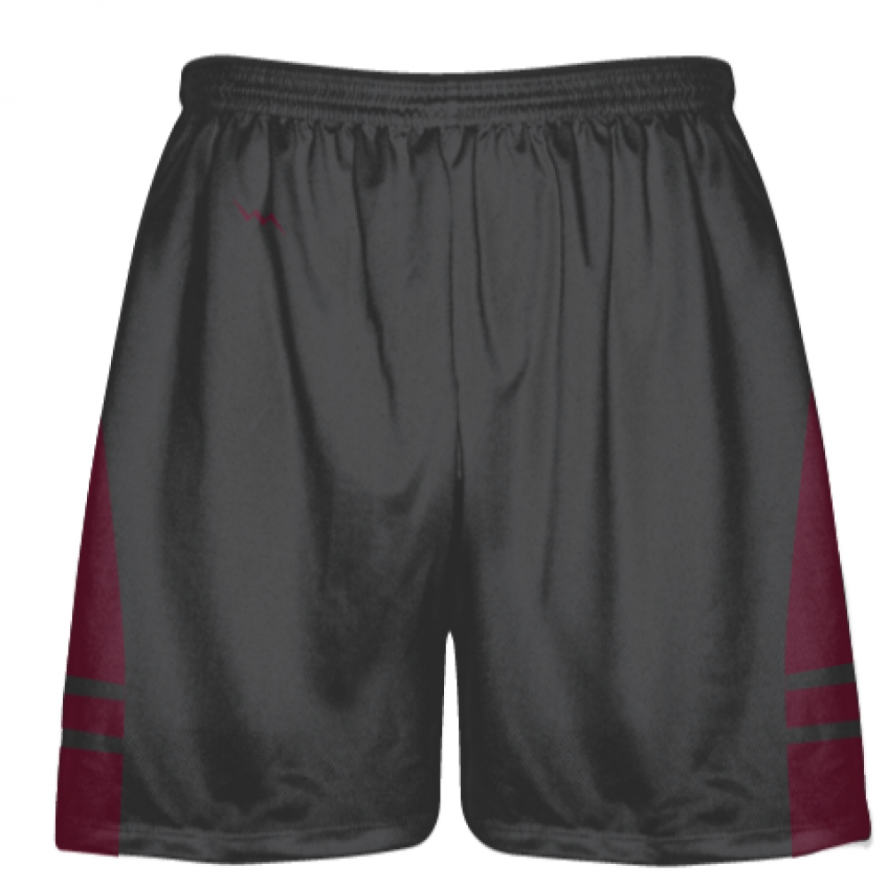 Charcoal+Gray+Maroon+Lacrosse+Shorts+-+Dye+Sublimation+Short