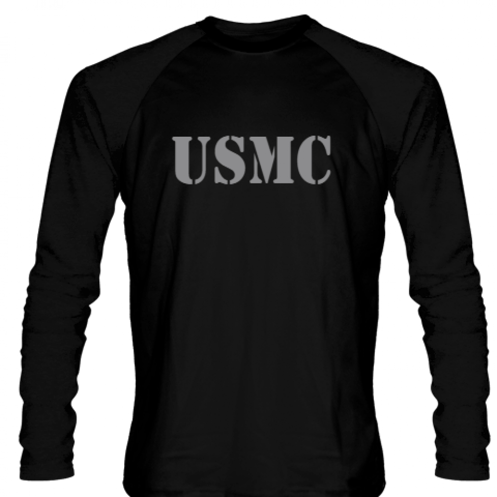 USMC+LONG+SLEEVE+SHIRT+Gray+Logo