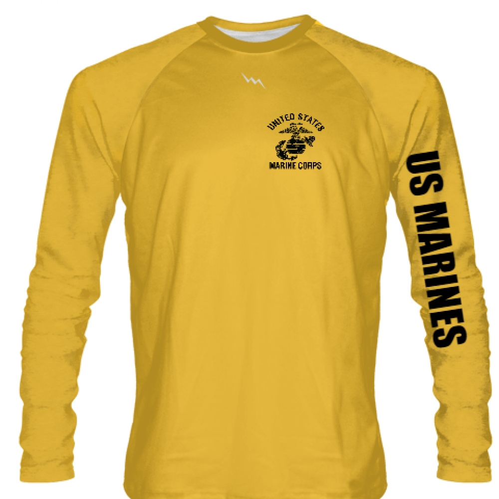 USMC+LONG+SLEEVE+SHIRT+GOLD+BLACK+LOGO