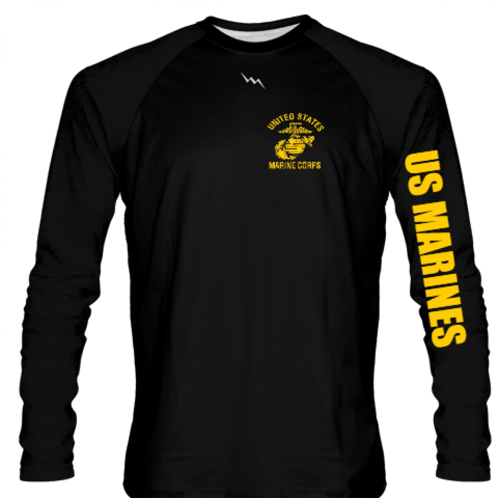 USMC+LONG+SLEEVE+SHIRT+BLACK+GOLD+LOGO