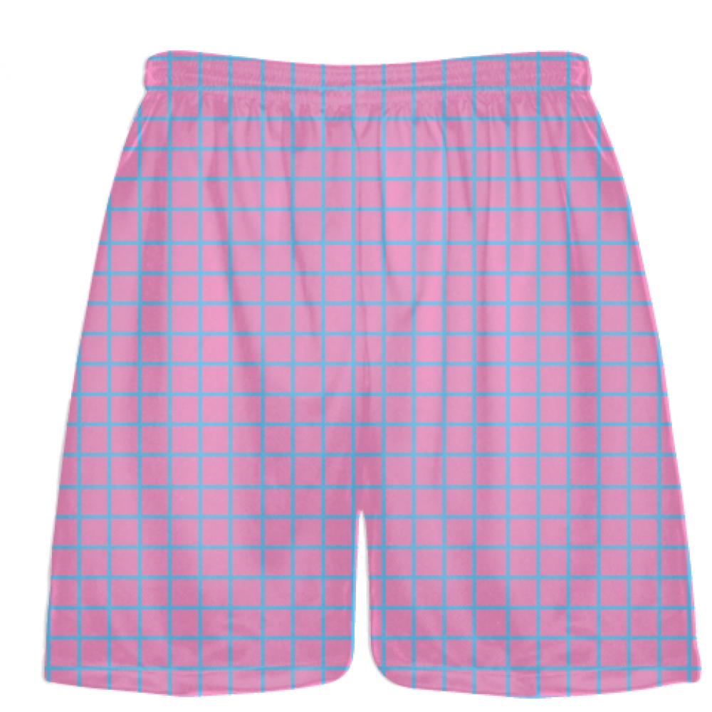 Grid+Pink+Light+Blue+Lacrosse+Shorts+-+Pink+Lax+Shorts+-+Youth+Lacrosse+Shorts