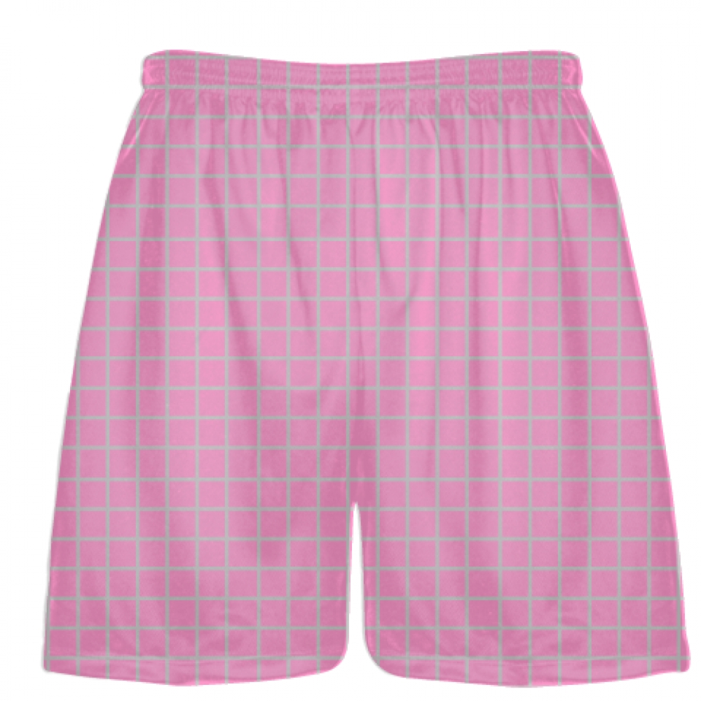 Grid+Pink+Silver+Lacrosse+Shorts+-+Pink+Lax+Shorts+-+Youth+Lacrosse+Shorts