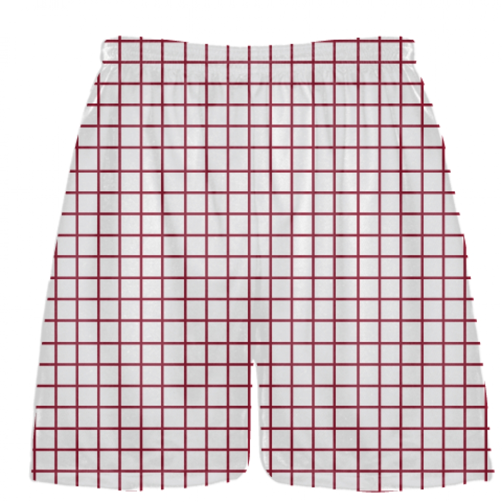 Grid+White+Cardinal+Red+Lacrosse+Shorts+-+Pink+Lax+Shorts+-+Youth+Lacrosse+Shorts