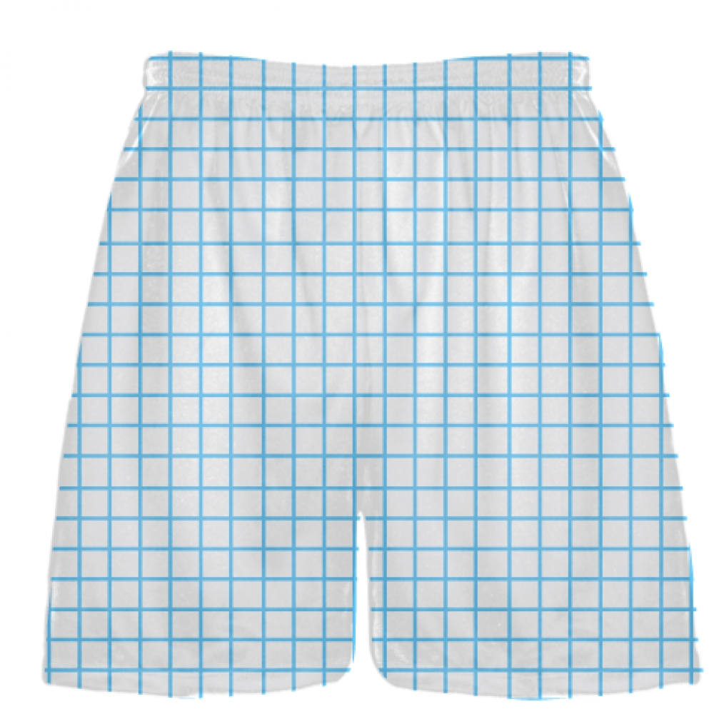 Grid+White+Powder+Blue+Lacrosse+Shorts+-+Pink+Lax+Shorts+-+Youth+Lacrosse+Shorts