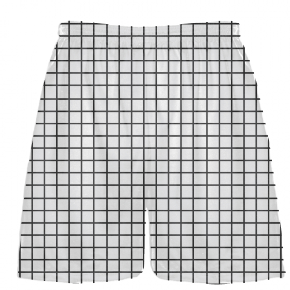 Grid+White+Charcoal+Lacrosse+Shorts+-+Pink+Lax+Shorts+-+Youth+Lacrosse+Shorts