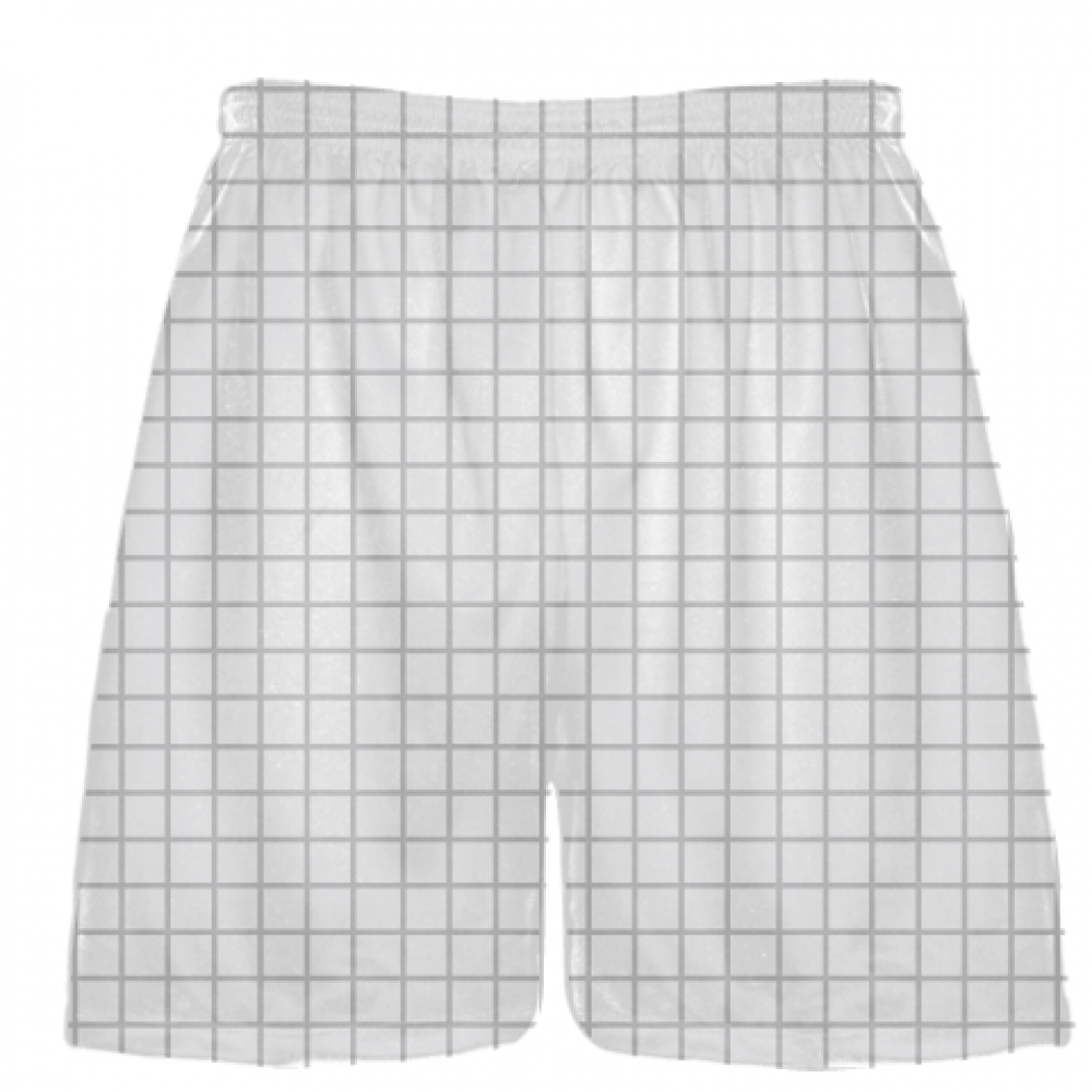Grid+White+Silver+Lacrosse+Shorts+-+Pink+Lax+Shorts+-+Youth+Lacrosse+Shorts