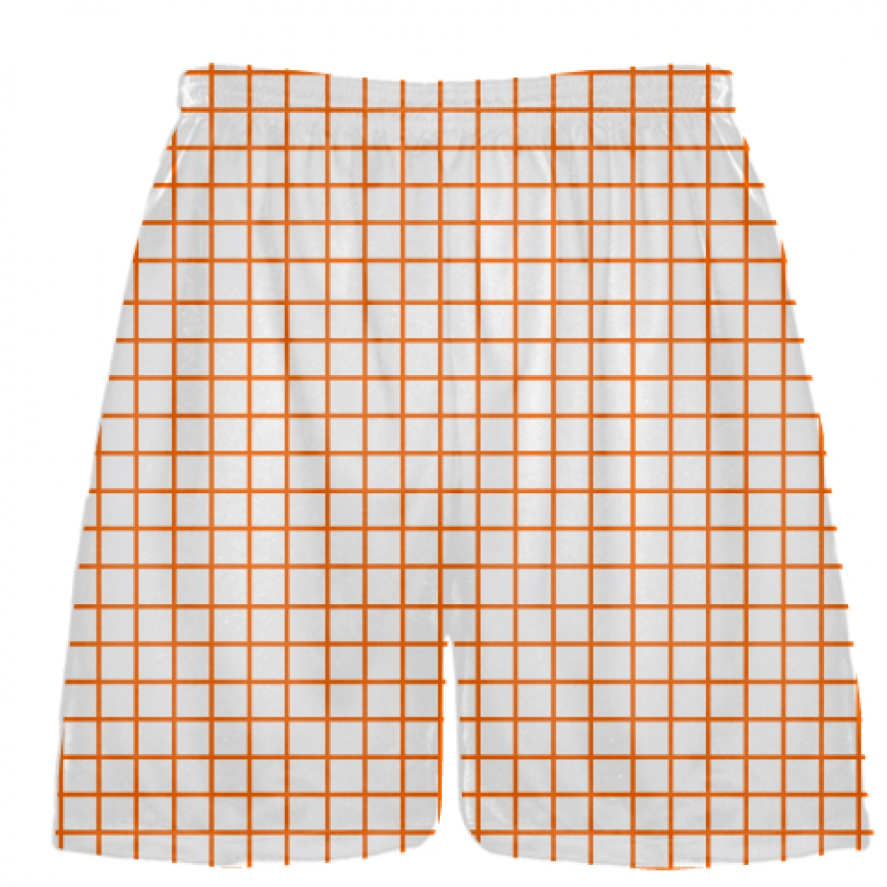 Grid+White+Orange+Lacrosse+Shorts+-+Pink+Lax+Shorts+-+Youth+Lacrosse+Shorts