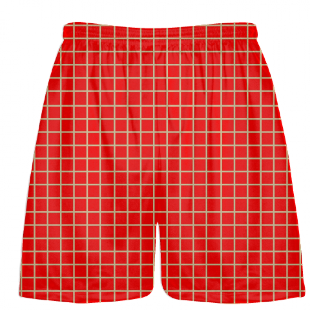 Grid+Red+Vegas+Gold+Lacrosse+Shorts+-+Pink+Lax+Shorts+-+Youth+Lacrosse+Shorts