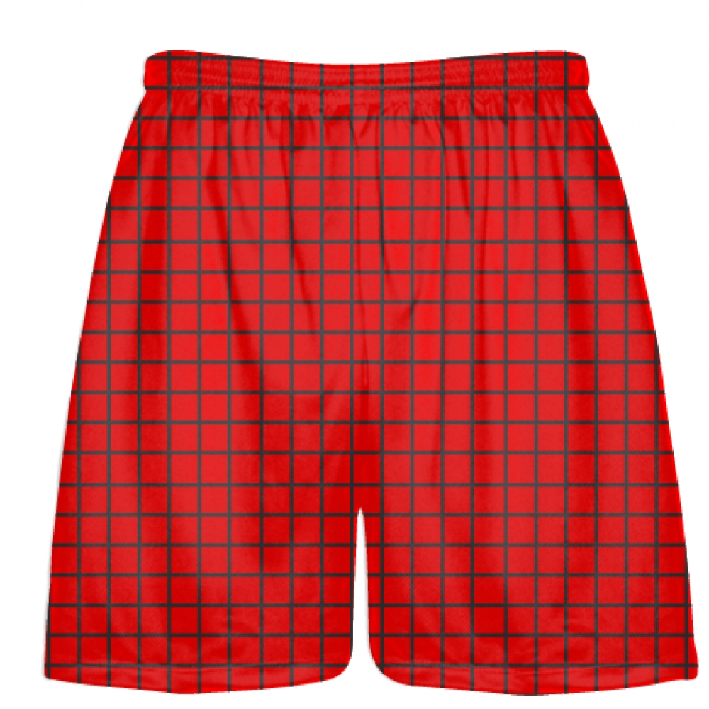 Grid+Red+Charcoal+Gray+Lacrosse+Shorts+-+Pink+Lax+Shorts+-+Youth+Lacrosse+Shorts