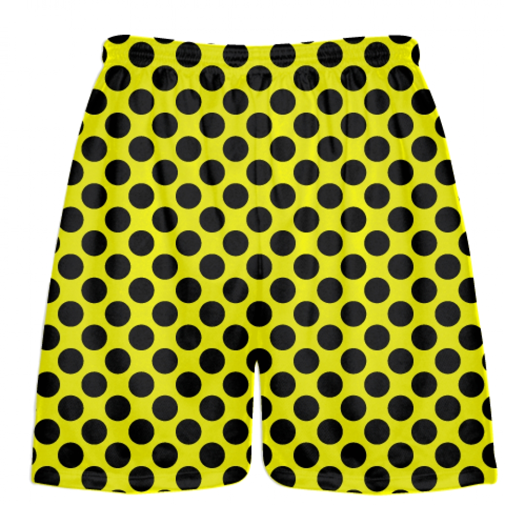 Yellow+Black+Polka+Dot+Shorts+-+Polka+Dot+Lacrosse+Shorts+-+Athletic+Shorts