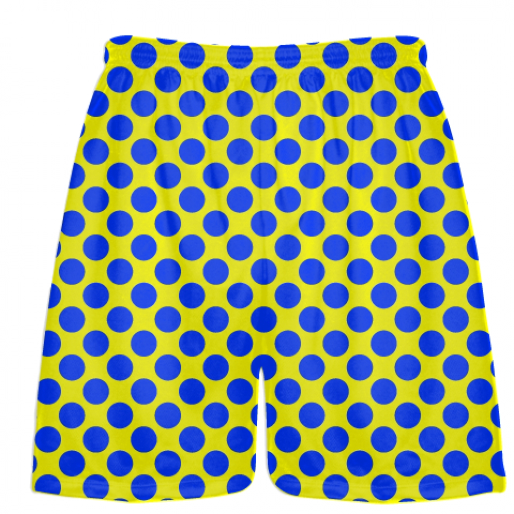 Yellow+Royal+Blue+Polka+Dot+Shorts+-+Polka+Dot+Lacrosse+Shorts+-+Athletic+Shorts