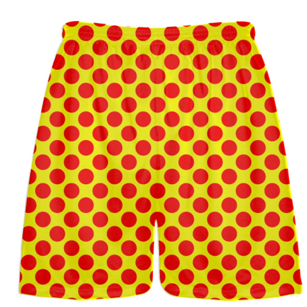 Yellow+Red+Polka+Dot+Shorts+-+Polka+Dot+Lacrosse+Shorts+-+Athletic+Shorts