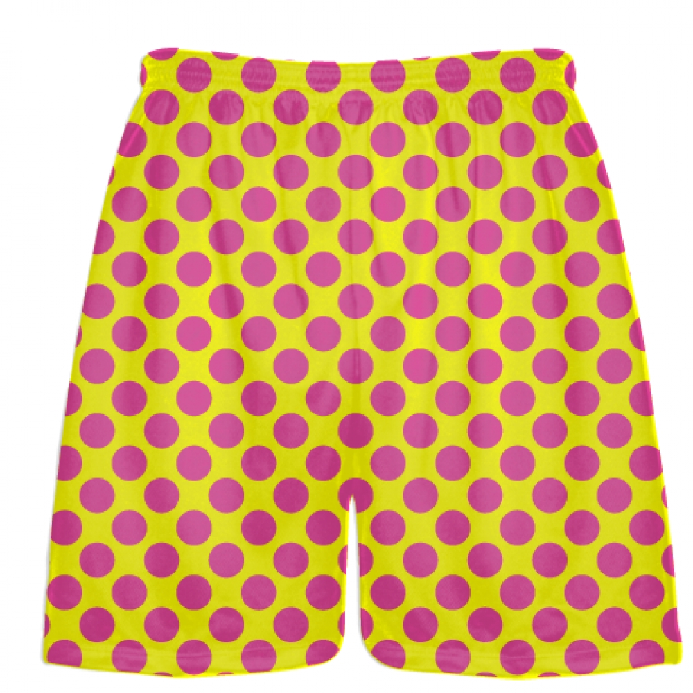 Yellow+Hot+Pink+Polka+Dot+Shorts+-+Polka+Dot+Lacrosse+Shorts+-+Athletic+Shorts