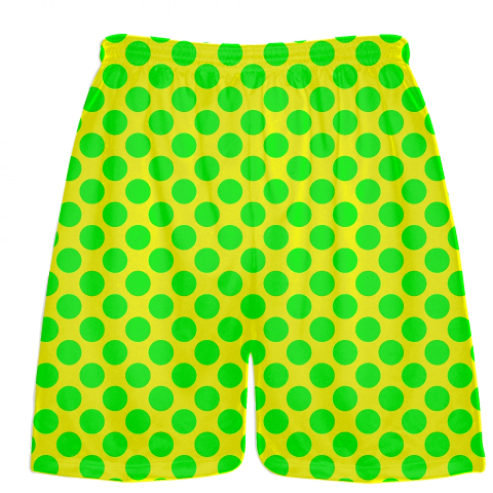 Yellow+Neon+Green+Polka+Dot+Shorts+-+Polka+Dot+Lacrosse+Shorts+-+Athletic+Shorts
