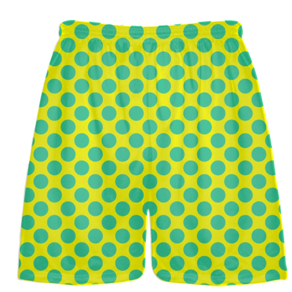 Yellow+Teal+Polka+Dot+Shorts+-+Polka+Dot+Lacrosse+Shorts+-+Athletic+Shorts
