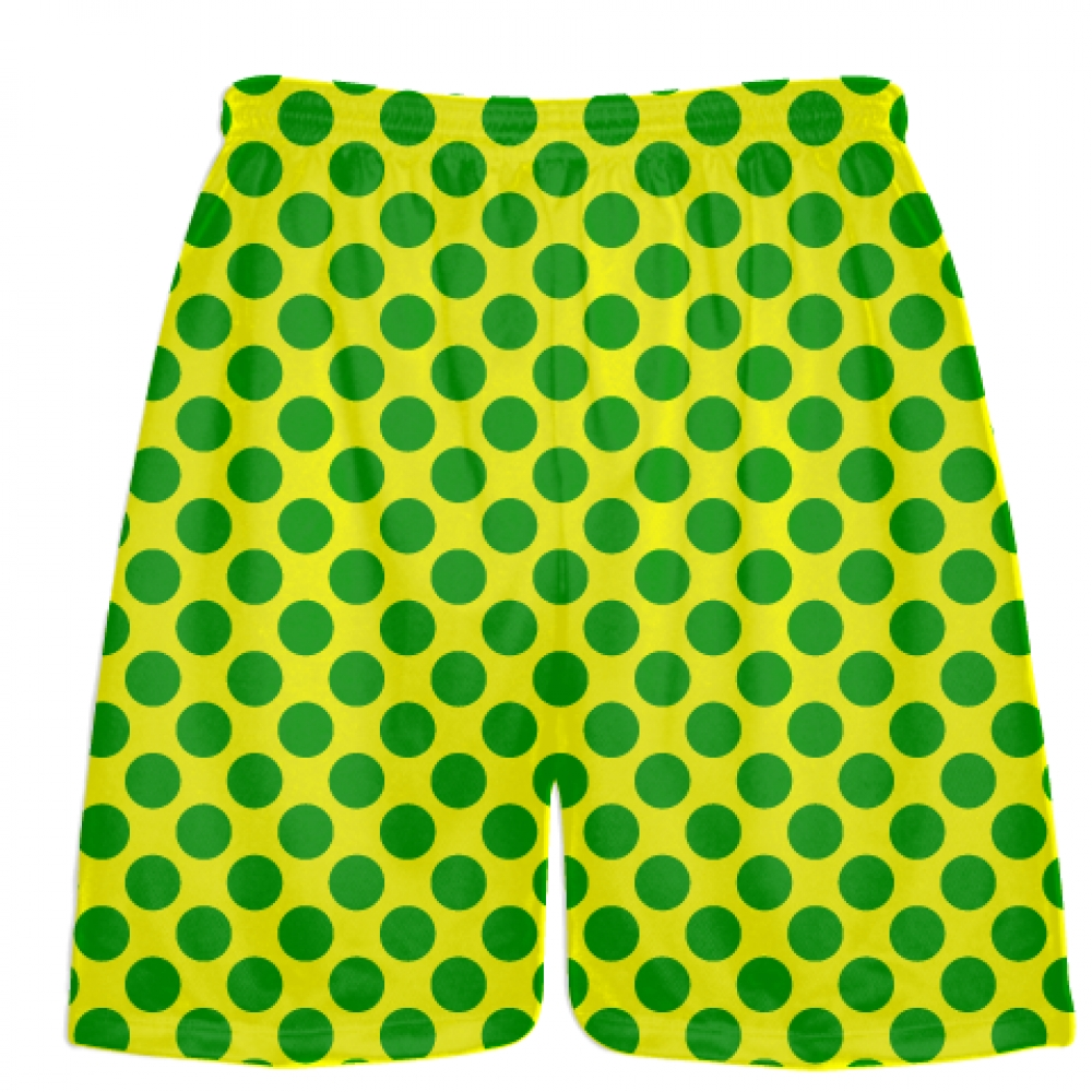 Yellow+Kelly+Green+Polka+Dot+Shorts+-+Polka+Dot+Lacrosse+Shorts+-+Athletic+Shorts