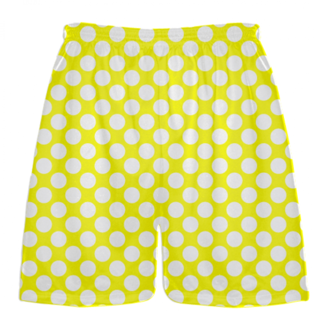 Yellow+White+Polka+Dot+Shorts+-+Polka+Dot+Lacrosse+Shorts+-+Athletic+Shorts