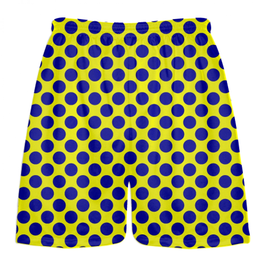 Yellow+Blue+Polka+Dot+Shorts+-+Polka+Dot+Lacrosse+Shorts+-+Athletic+Shorts