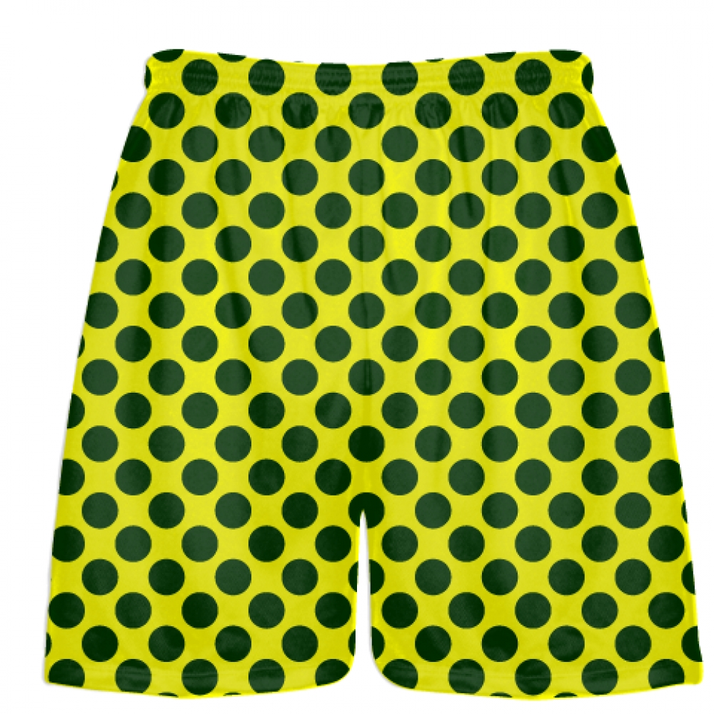 Yellow+Dark+Green+Polka+Dot+Shorts+-+Polka+Dot+Lacrosse+Shorts+-+Athletic+Shorts