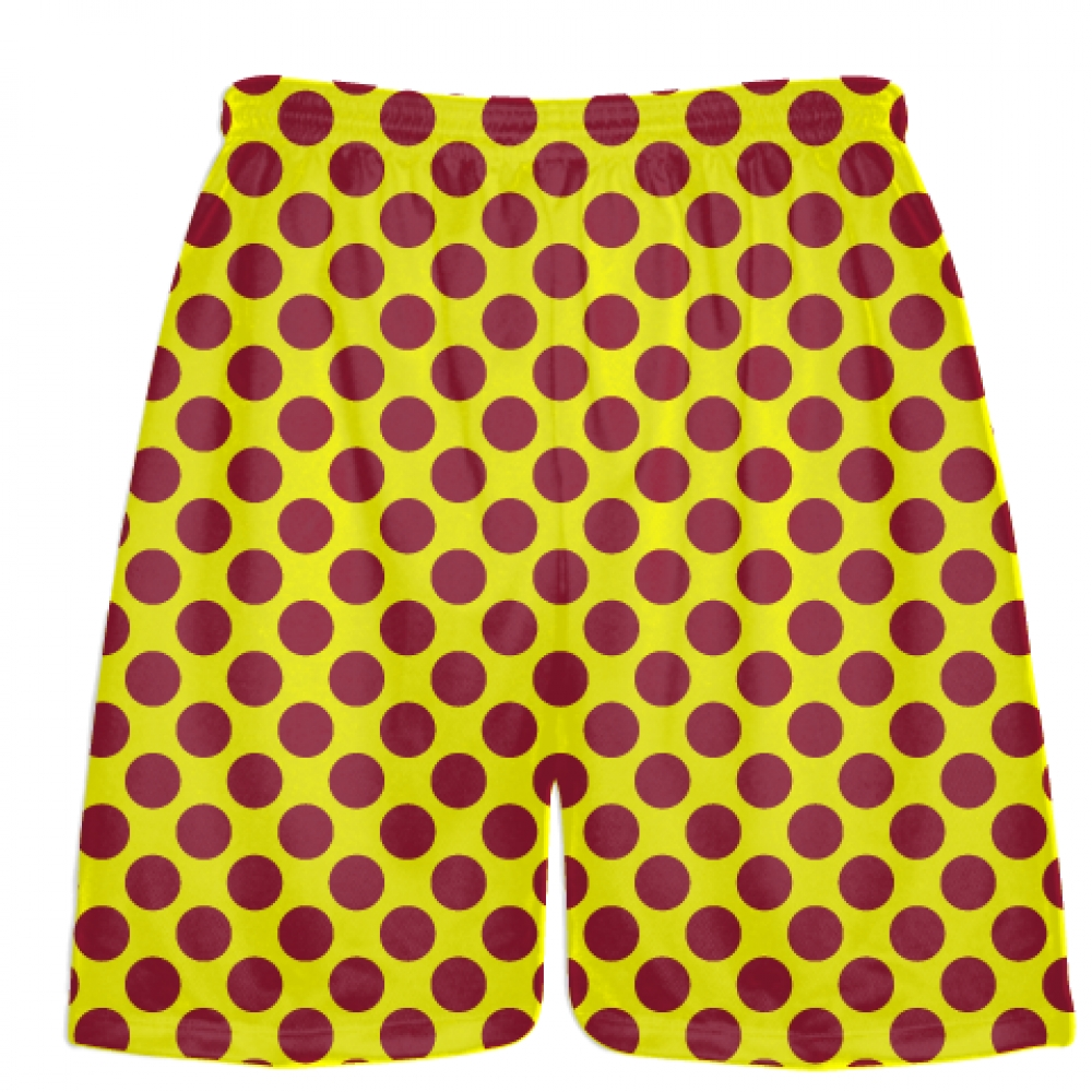 Yellow+Cardinal+Red+Polka+Dot+Shorts+-+Polka+Dot+Lacrosse+Shorts+-+Athletic+Shorts