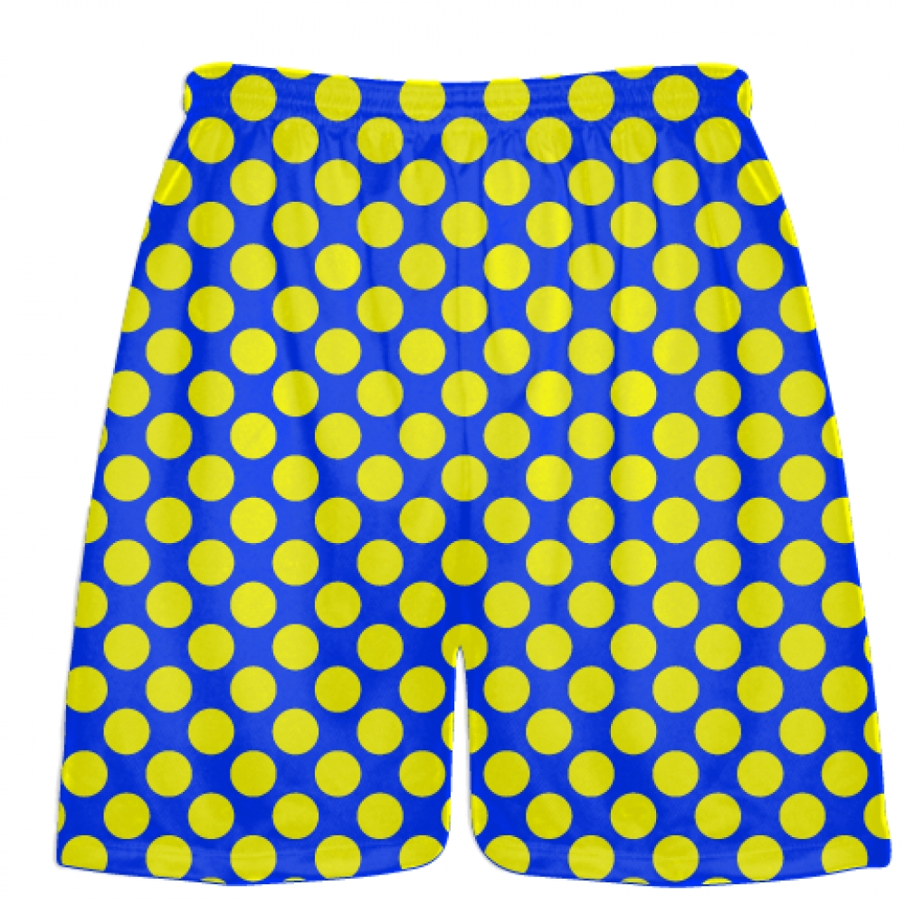 Royal+Blue+Yellow+Polka+Dot+Shorts+-+Athletic+Shorts+Pockets+-+Youth+Adult+Shorts
