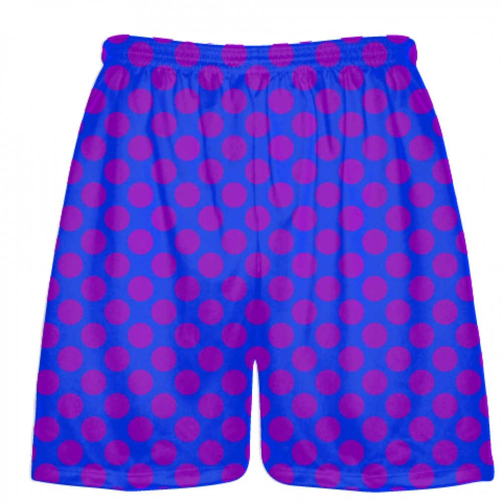 Royal+Blue+Purple+Polka+Dot+Shorts+-+Athletic+Shorts+Pockets+-+Youth+Adult+Shorts