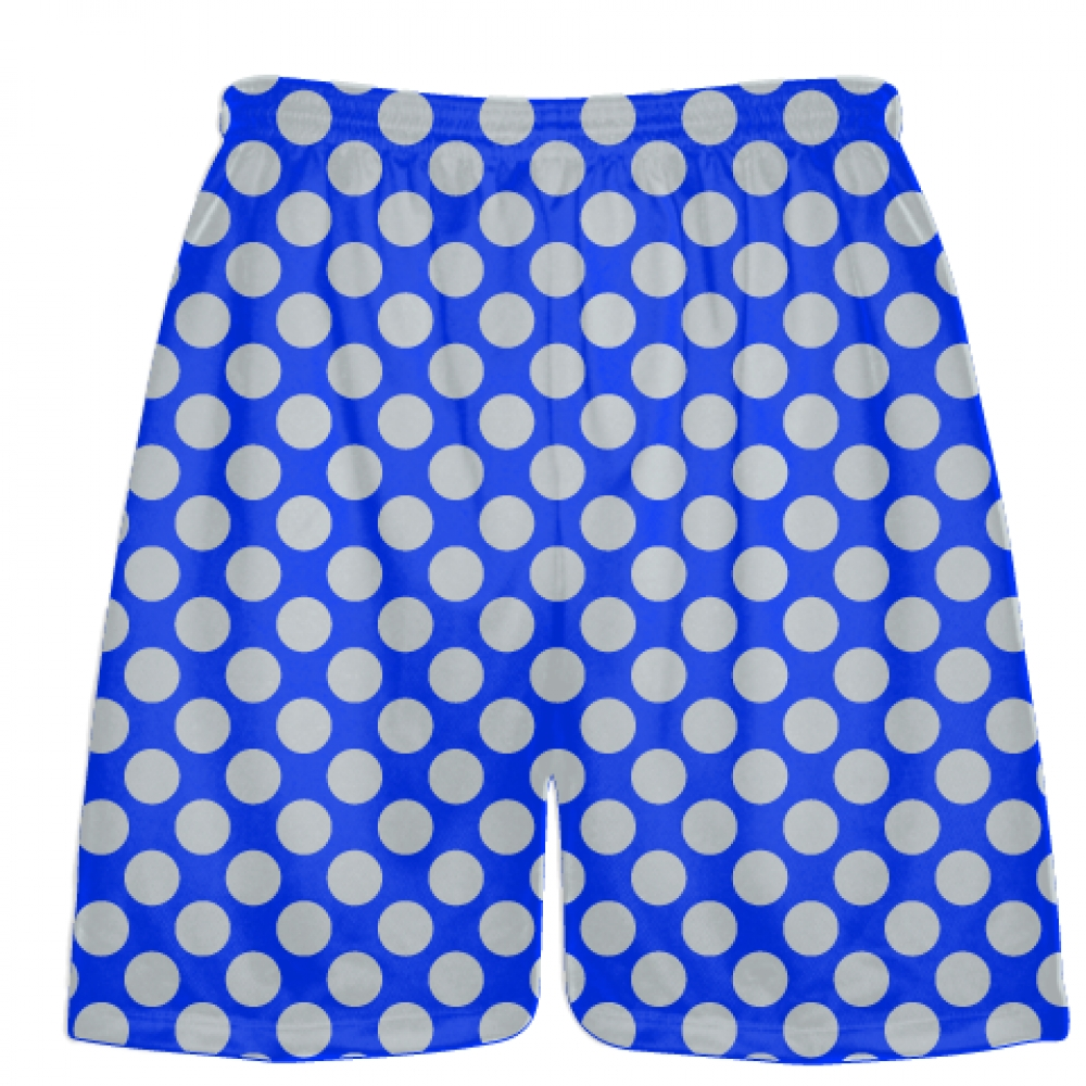 Royal+Blue+Silver+Polka+Dot+Shorts+-+Athletic+Shorts+Pockets+-+Youth+Adult+Shorts