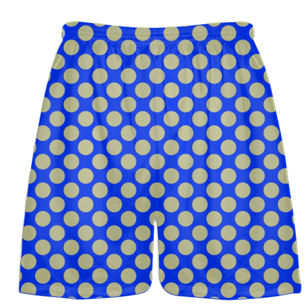 Royal+Blue+Vegas+Gold+Polka+Dot+Shorts+-+Athletic+Shorts+Pockets+-+Youth+Adult+Shorts