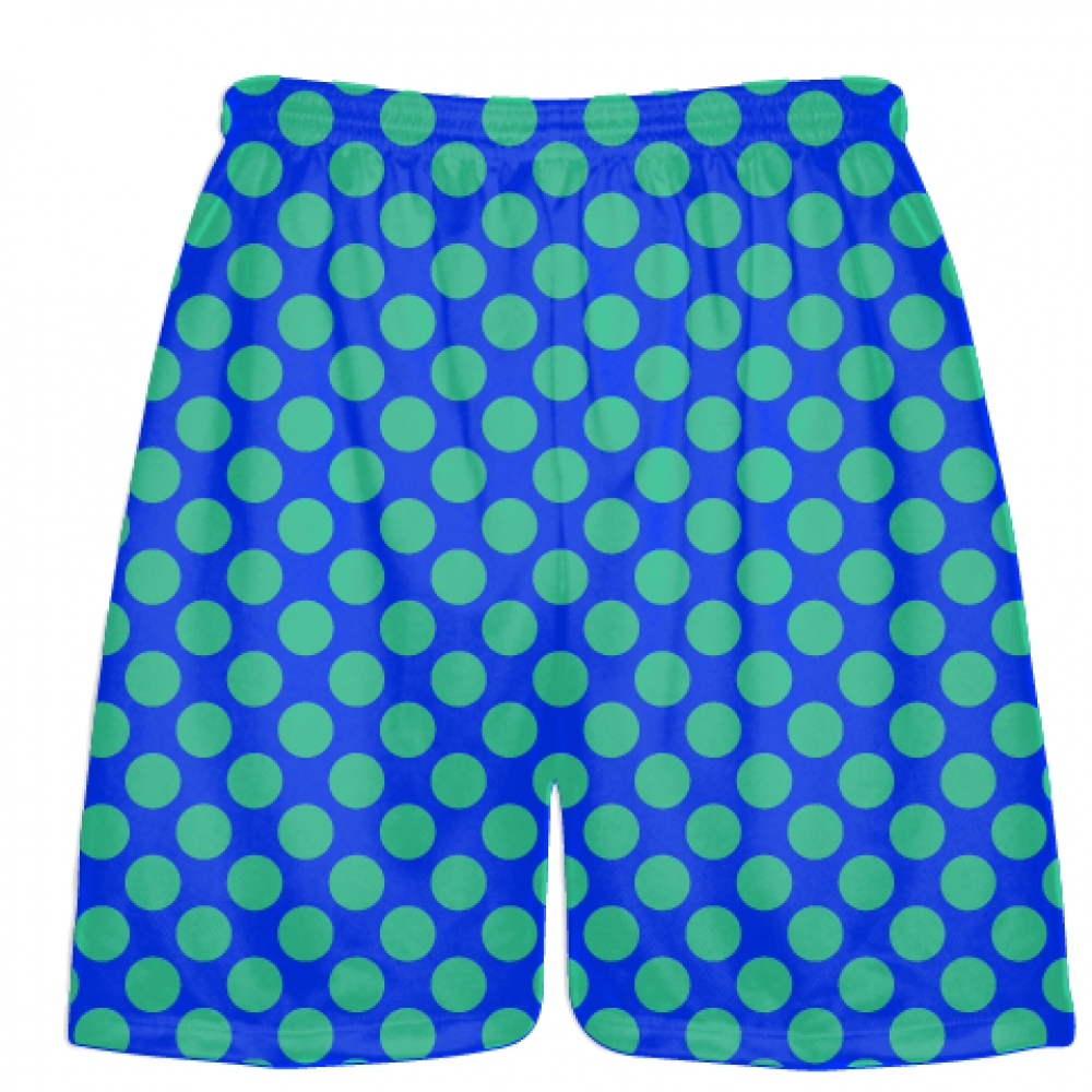 Royal+Blue+Teal+Polka+Dot+Shorts+-+Athletic+Shorts+Pockets+-+Youth+Adult+Shorts