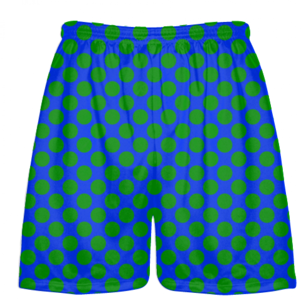 Royal+Blue+Kelly+Green+Polka+Dot+Shorts+-+Athletic+Shorts+Pockets+-+Youth+Adult+Shorts