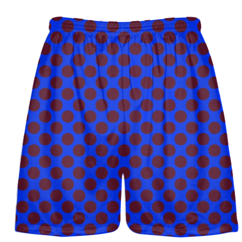 Royal+Blue+Maroon+Polka+Dot+Shorts+-+Athletic+Shorts+Pockets+-+Youth+Adult+Shorts