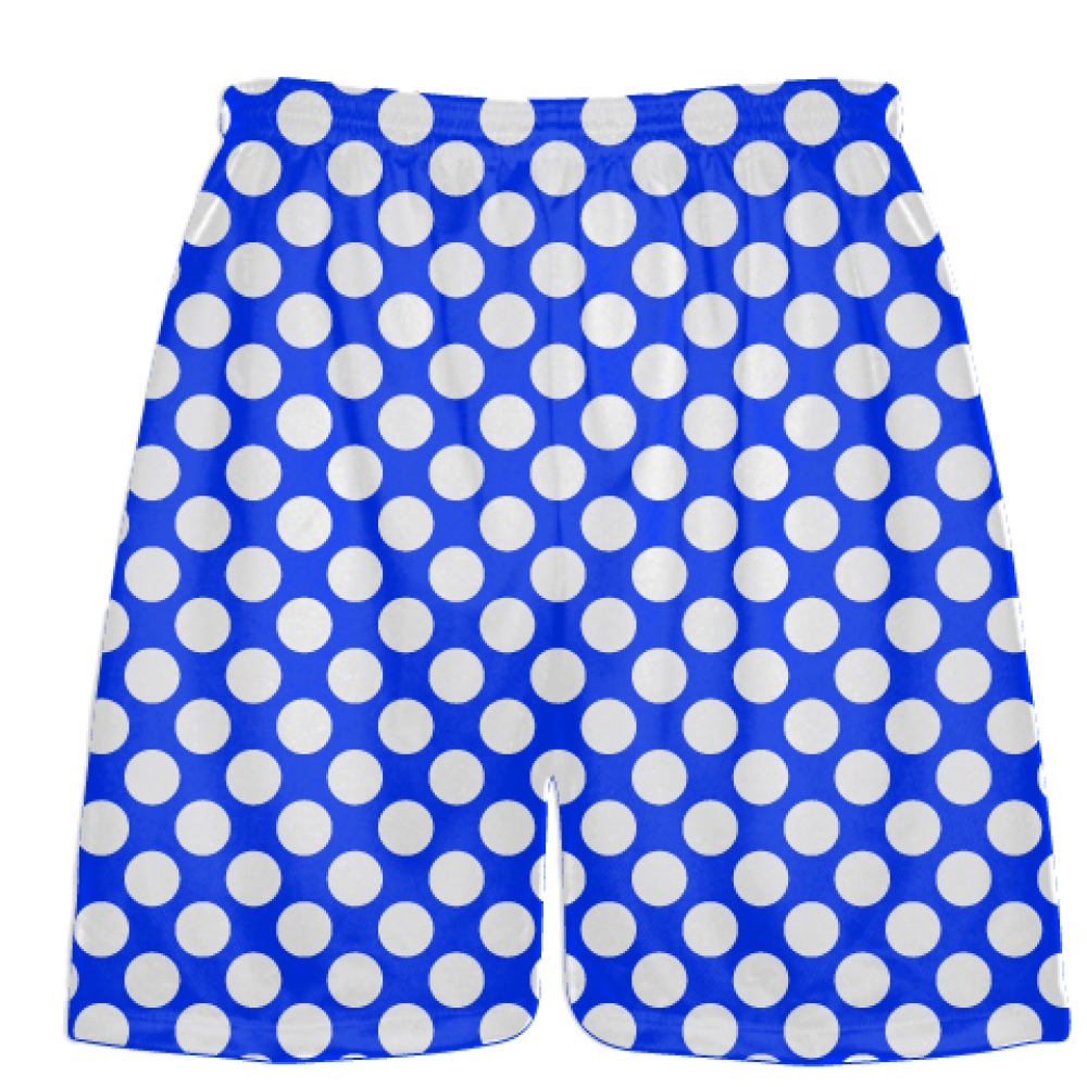 Royal+Blue+White+Polka+Dot+Shorts+-+Athletic+Shorts+Pockets+-+Youth+Adult+Shorts