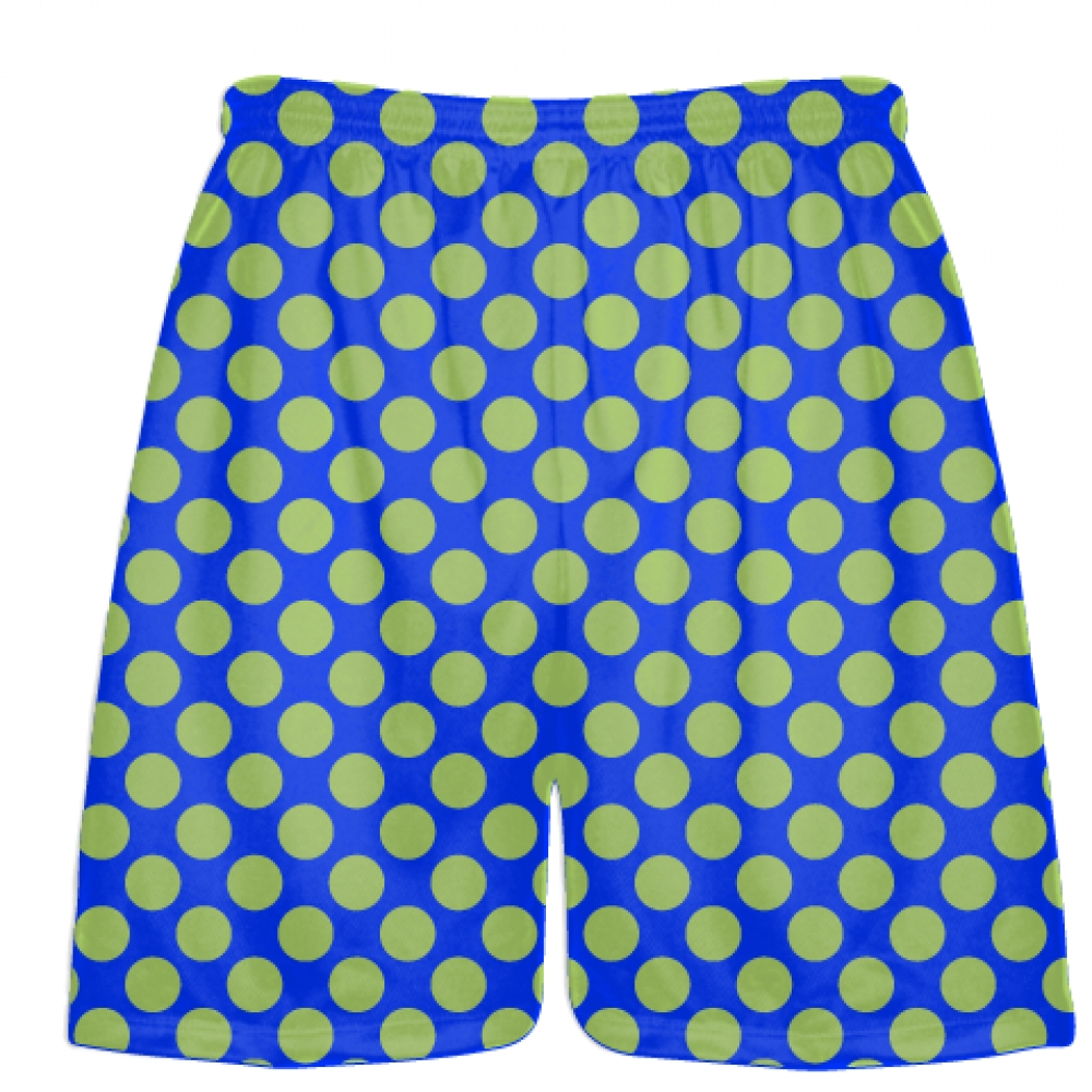 Royal+Blue+Lime+Green+Polka+Dot+Shorts+-+Athletic+Shorts+Pockets+-+Youth+Adult+Shorts
