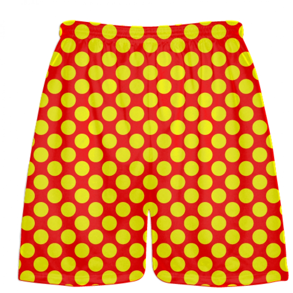 Red+Yellow+Polka+Dot+Shorts+-+Boys+Lacrosse+Shorts+-+Mens+Lacrosse+Short