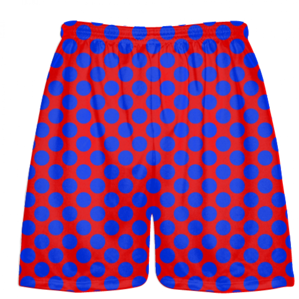 Red+Royal+Blue+Polka+Dot+Shorts+-+Boys+Lacrosse+Shorts+-+Mens+Lacrosse+Short