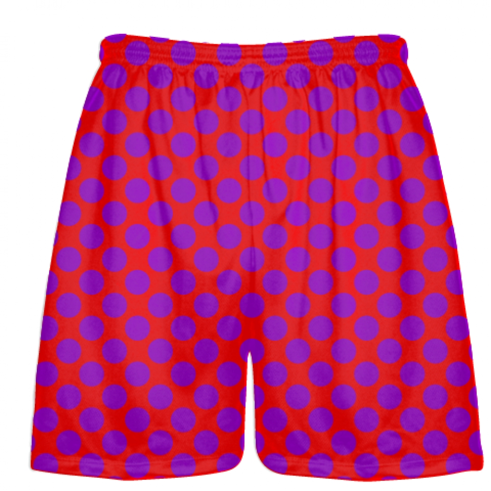 Red+Purple+Polka+Dot+Shorts+-+Boys+Lacrosse+Shorts+-+Mens+Lacrosse+Short