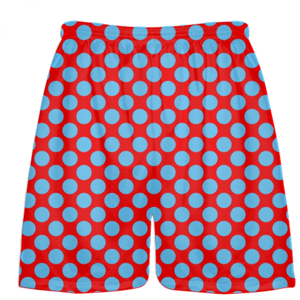 Red+Powder+blue+Polka+Dot+Shorts+-+Boys+Lacrosse+Shorts+-+Mens+Lacrosse+Short