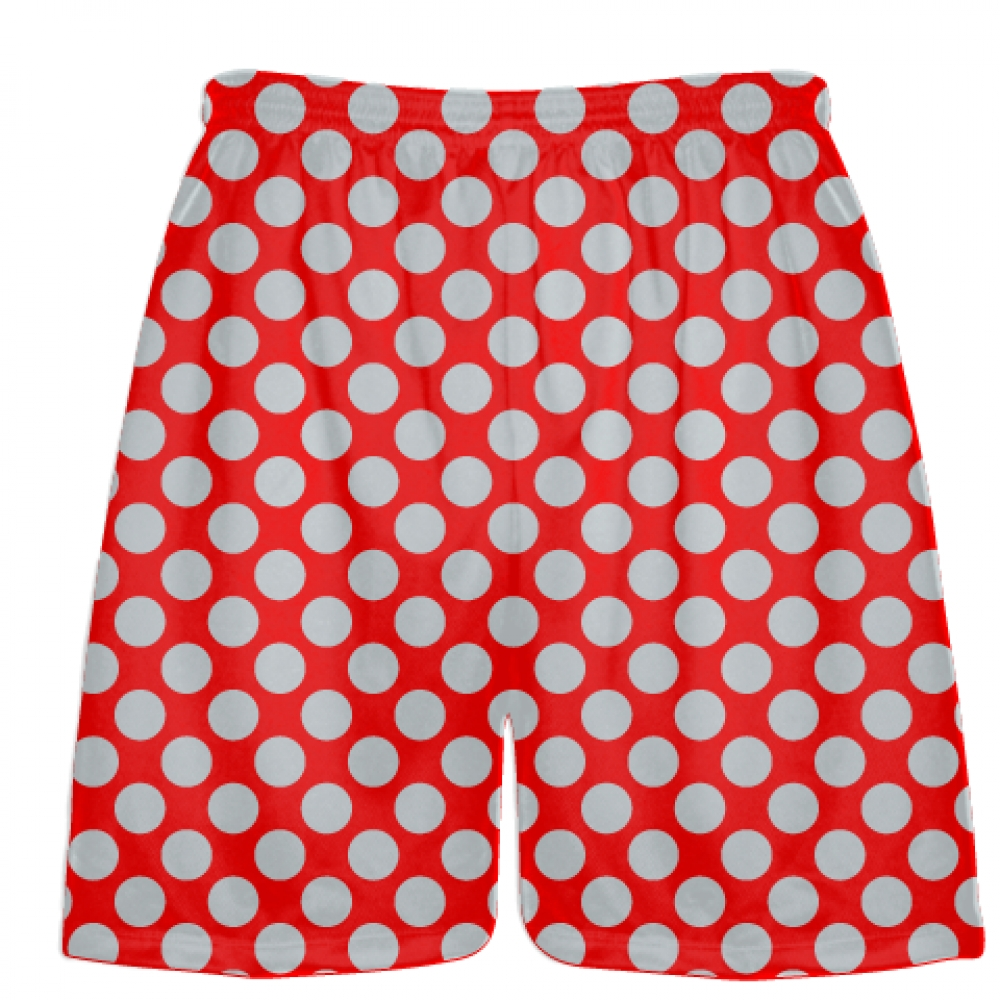 Red+Silver+Polka+Dot+Shorts+-+Boys+Lacrosse+Shorts+-+Mens+Lacrosse+Short