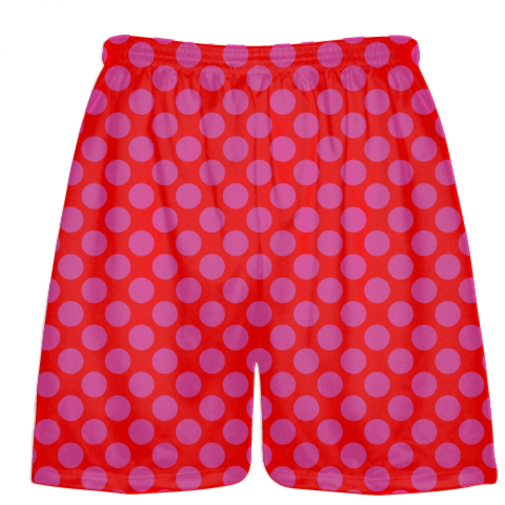 Red+Hot+Pink+Polka+Dot+Shorts+-+Boys+Lacrosse+Shorts+-+Mens+Lacrosse+Short